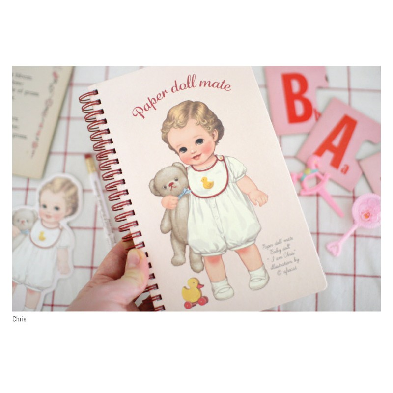 Japanese Notebook Paper Paper Doll Mate Spring...