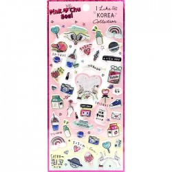 Pink Chu Love Korea Puffy Stickers