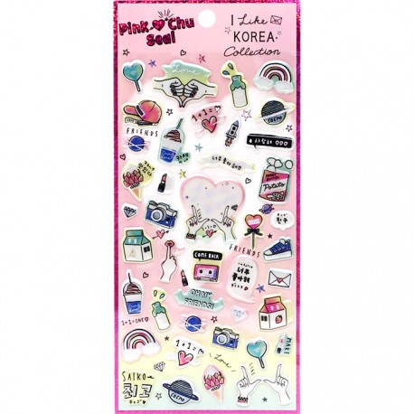 Pink Chu Love Korea Puffy Stickers