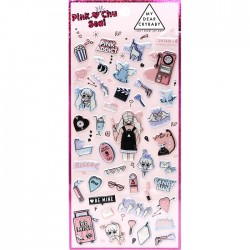 Pink Chu Cry Baby Puffy Stickers