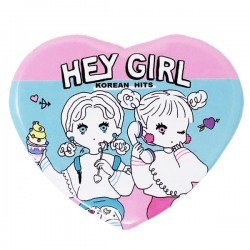 Hey Girl Heart Button Badge