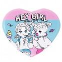 Hey Girl Heart Button Badge