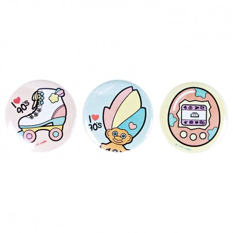 I Love 90's Button Badges Set