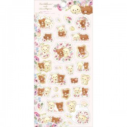 Korilakkuma Meets Chairoikoguma Floral Tracing Stickers