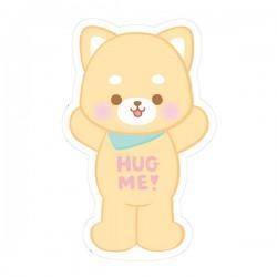 Hug Me! Shiba Puppy Removable Die-Cut Sticker