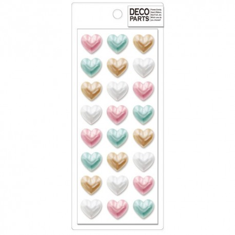 Deco Pearly Hearts Cabochons Set