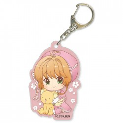 Cardcaptor Sakura Clear Card Pink Ribbon Dress Keychain