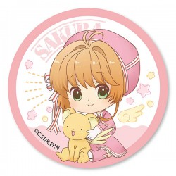 Cardcaptor Sakura Clear Card Pink Ribbon Dress Button Badge