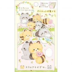 Kokoro Araiguma Hugs Die-Cut Sticky Notes
