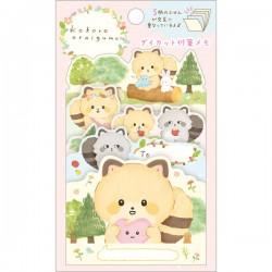 Kokoro Araiguma Hugs Forest Die-Cut Sticky Notes