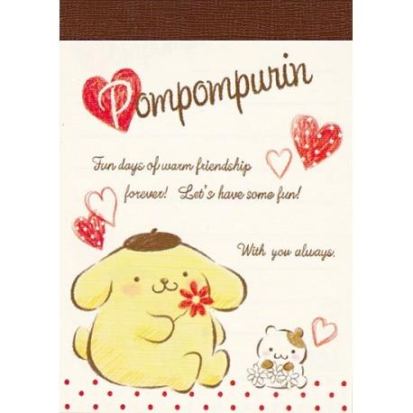 Pompom Purin Hearts Mini Memo Pad