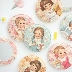 Paper Doll Mate Animals Pocket Mirror