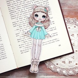 Snow Bear Girl Bookmark