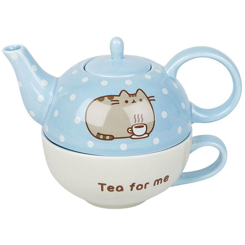 pusheen tea for one teapot mug set kawaii panda making life cuter. Black Bedroom Furniture Sets. Home Design Ideas