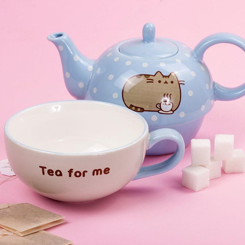 pusheen tea for one teapot  u0026 mug set