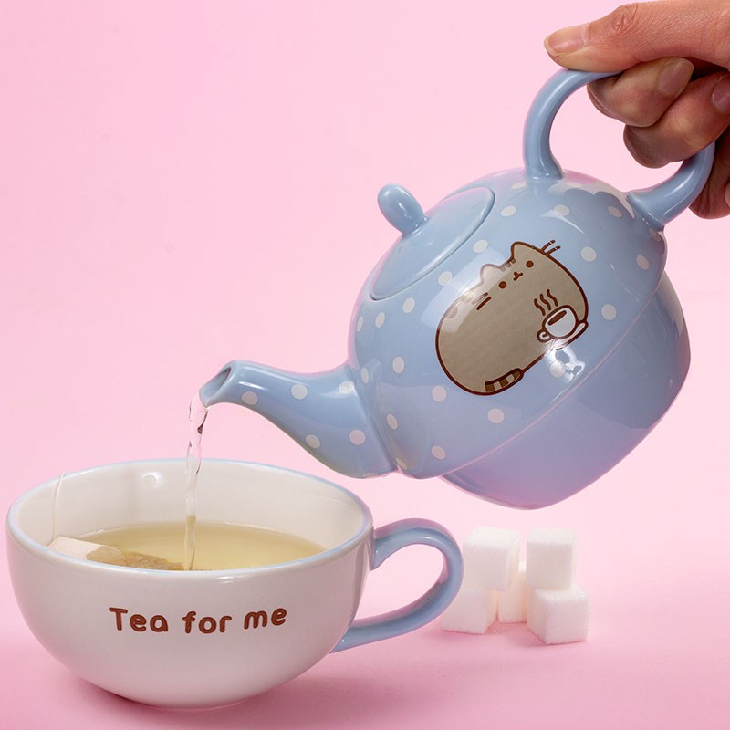 pusheen tea for one teapot mug set kawaii panda making life cuter. Black Bedroom Furniture Sets. Home Design Ideas