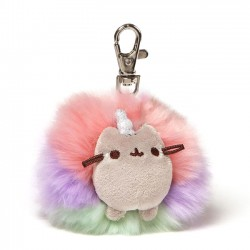 Pusheenicorn Rainbow Pom Keychain