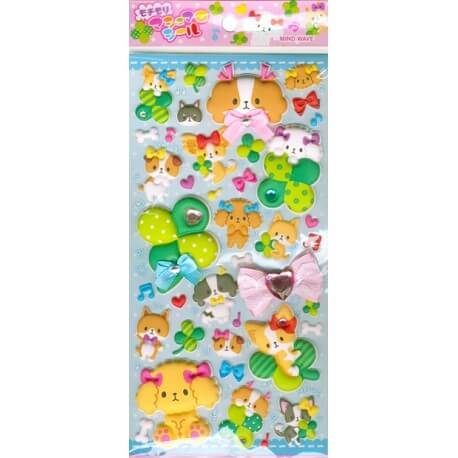 Happiness Dogs Puffy Stickers
