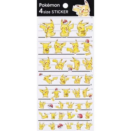 Pikachu Pokéball 4 Size Stickers