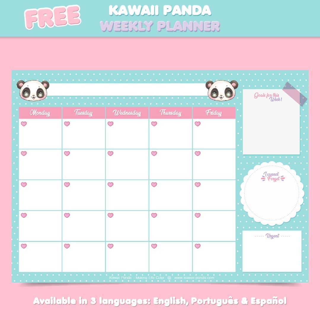 Free Kawaii Panda Weekly Planner